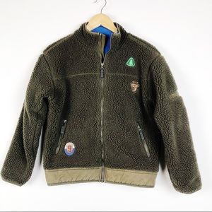 Gap Kids Sherpa Jacket Coat Full Zip Army Green